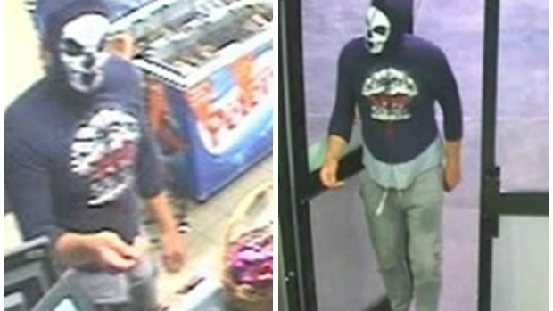 Article image for Hunt for man wearing skeleton mask over armed robbery