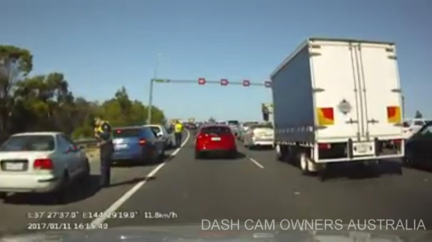Article image for Impatient emergency lane driver BUSTED on the Western Ring Road