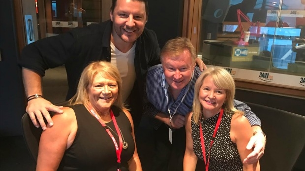 Article image for My Kitchen Rules judge Manu Feildel and contestants Karen and Roz join Denis Walter