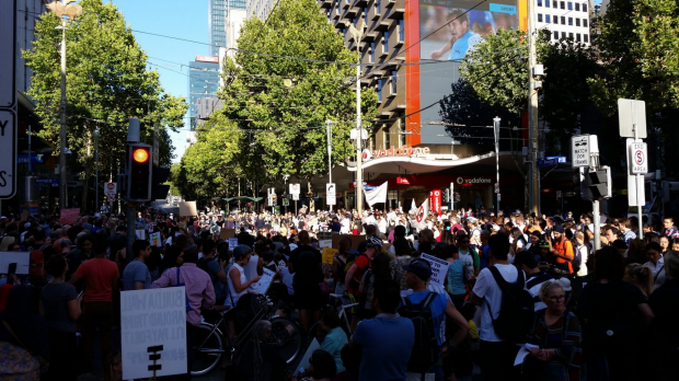 Article image for Protesters against Donald Trump bring Melbourne CBD street to a standstill