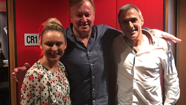 Article image for Mel Schilling and John from Married At First Sight in studio with Denis Walter