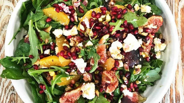 Article image for Emma Dean's Backyard Summer Salad of greens, figs and cheese.