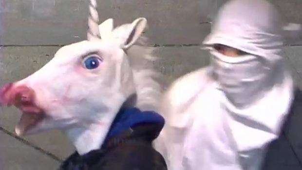 Article image for Man in unicorn mask attempts to rob service stations in Melbourne's outer east
