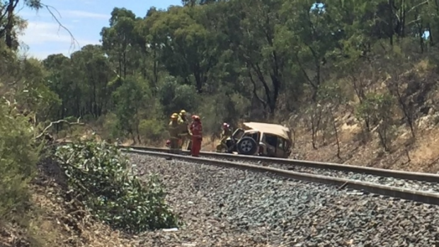 Article image for Train derails after hitting abandoned car