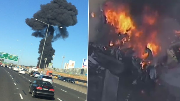Article image for Five people killed after plane crashes into DFO building near Essendon Airport and bursts into flames