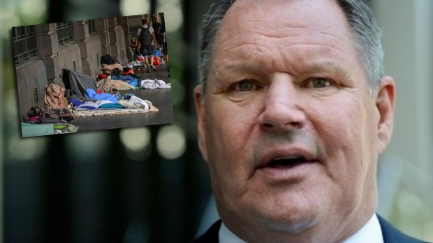 Article image for Neil Mitchell and homeless spokesperson 'Spike' clash over protest outside Robert Doyle's house