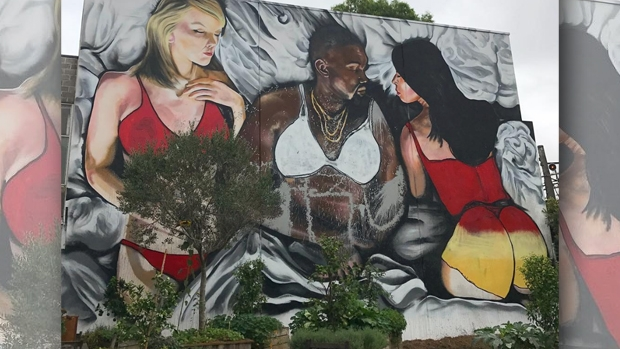Article image for Kanye West mural receives makeover after Melbourne father's outrage