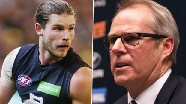 Article image for Carlton boss Steven Trigg defends decision to not trade Bryce Gibbs