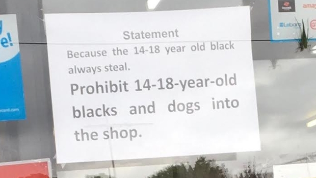 Article image for Racist poster banning 'black teenagers' from milk bar sparks outrage in Melton