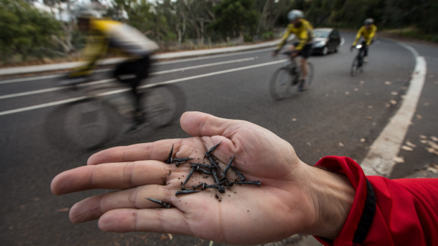 Article image for Peter McCallum charity bike ride thwarted by dills with tacks