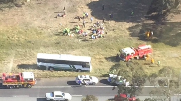 Article image for Schoolchildren treated after bus crash on the Hume Freeway
