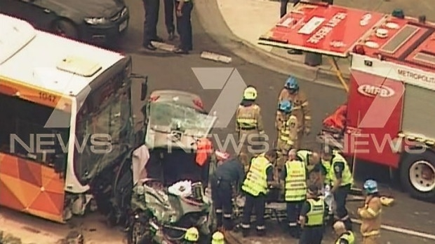 Article image for Two men freed from wreckage of stolen unmarked police car at Box Hill South