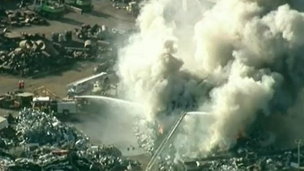 Article image for Large fire at Sims Scrap Metal, Brooklyn