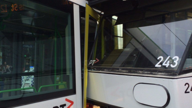 Article image for City tram smash causes havoc