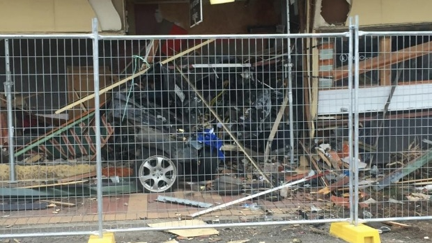Article image for Mercedes Benz remains stuck under Kalkallo Pub after weekend crash
