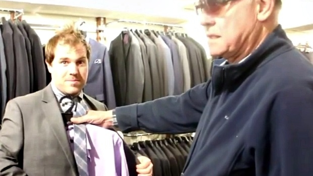 Article image for John Burns takes Scorcher Davidson shopping for a suit