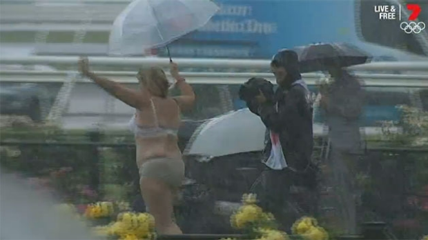 Article image for Neil Mitchell interviews the Oaks Day streaker (AKA: Underpants Lady)