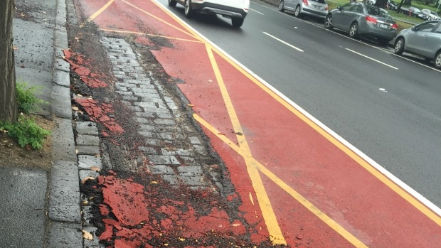 Article image for City bus lane crumbles after heavy rain