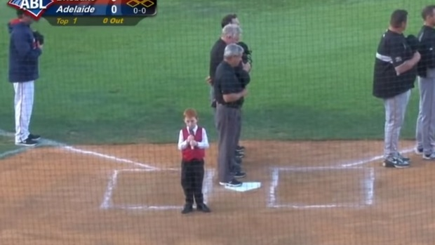 Article image for Young boy, Ethan Hall, struck down by hiccups while singing national anthem at baseball game