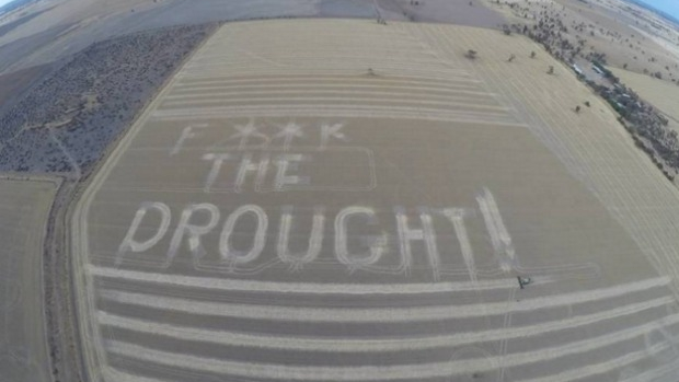 Article image for Farmer writes 'f— the drought' in paddock