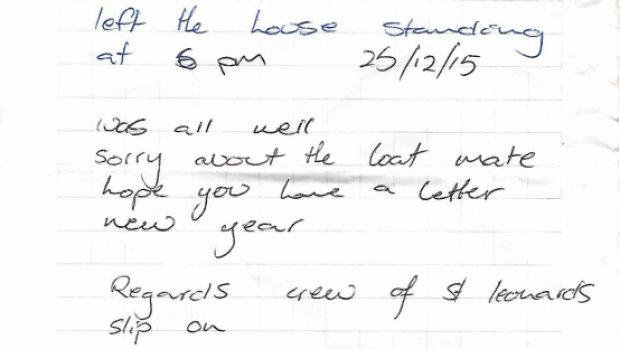 Article image for The note firefighters left…
