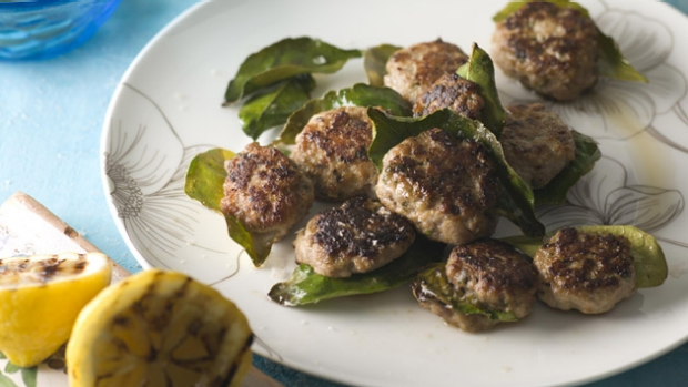 Article image for Recipe: Tobie Puttock's Sicilian veal meatballs grilled in lemon leaves