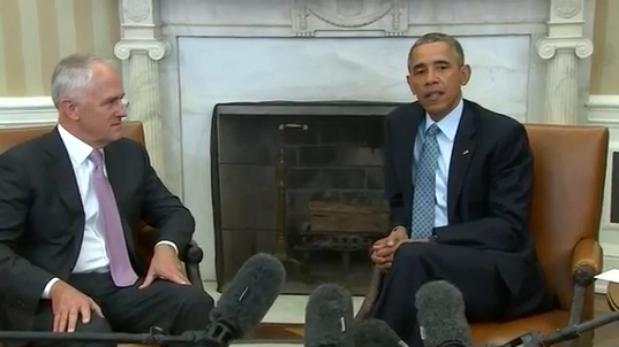 Article image for Barack Obama praises Australia during Malcolm Turnbull's White House visit