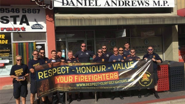 Article image for Firefighters protest outside office of premier Daniel Andrews