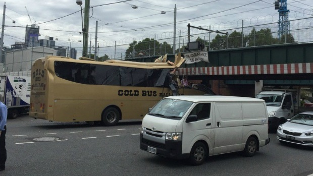 Article image for Passengers trapped after Montague Street bridge bus crash