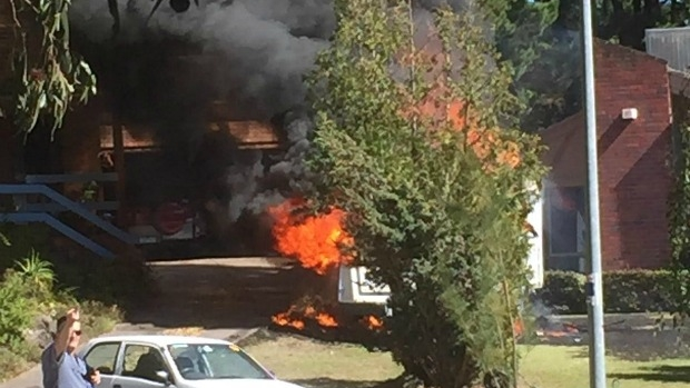 Article image for Dramatic caravan fire at Ringwood