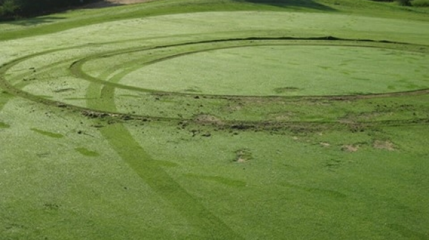 Article image for Hoons have performed 'wheelies' on the green at the Lakes Entrance Golf Club
