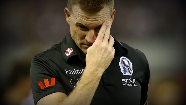 Article image for Caroline Wilson says Nathan Buckley is in 'a lot' of trouble, dismisses 'embarrassing' comment from Eddie McGuire