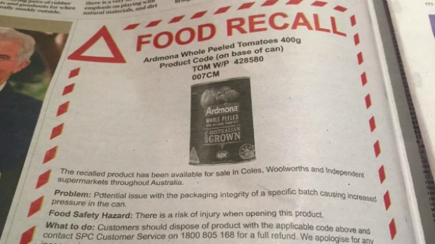 Article image for Recall for Ardmona tomatoes in tin because the tin goes 'kaboom'