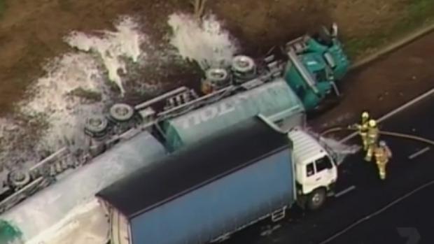 Article image for Man killed, several others hurt, as petrol tanker flips in nightmare crash on Calder Freeway