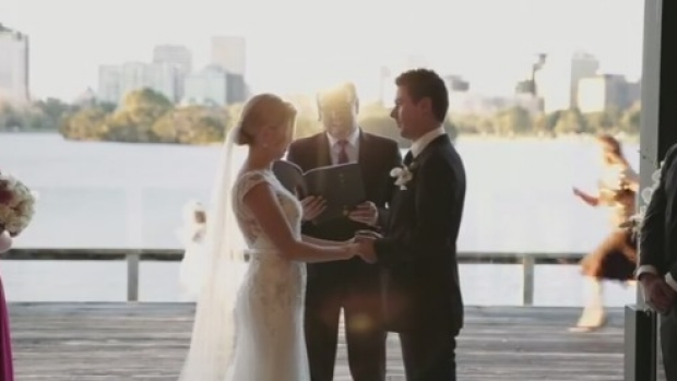 Article image for WATCH: Newsreader David Armstrong's kid goes for a mid-wedding run