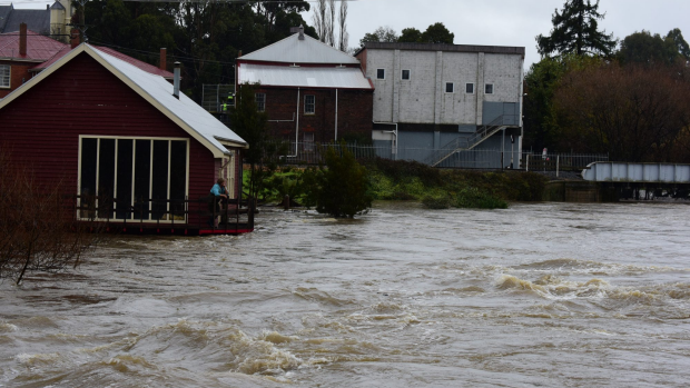 Article image for Police officer saves family from flood waters in Tasmania