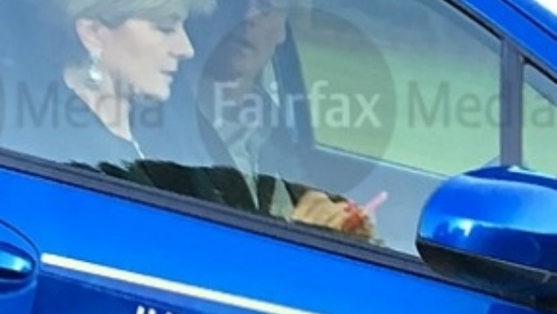 Article image for Julie Bishop photographed using mobile phone while driving car