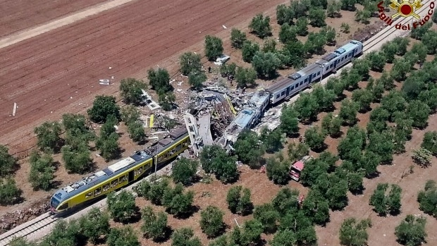 Article image for At least 20 people killed and 50 injured after Italy train smash