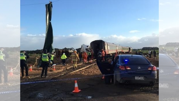 Article image for Horror smash involving train and truck at Pirron Yallock, near Colac