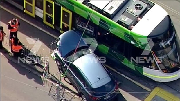 Article image for Car crashes into tram on Gilbert Road, Preston