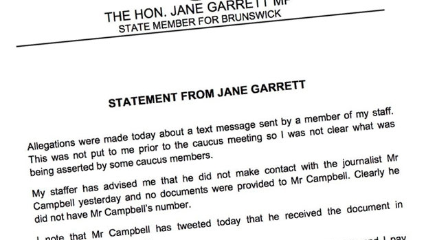 Article image for Jane Garrett to make formal complaint about how she was treated as Emergency Services Minister