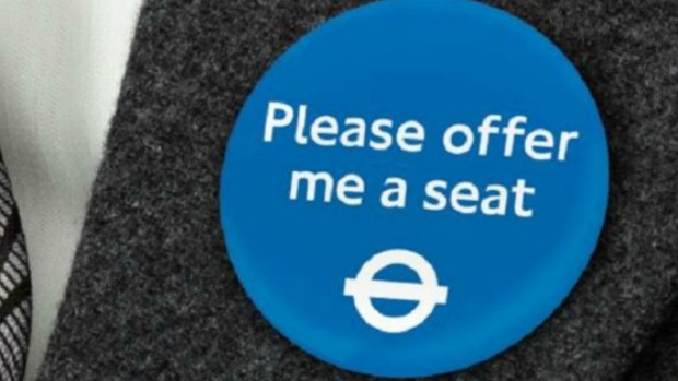 Article image for London adopts 'Please offer me a seat' pins with hidden health conditions