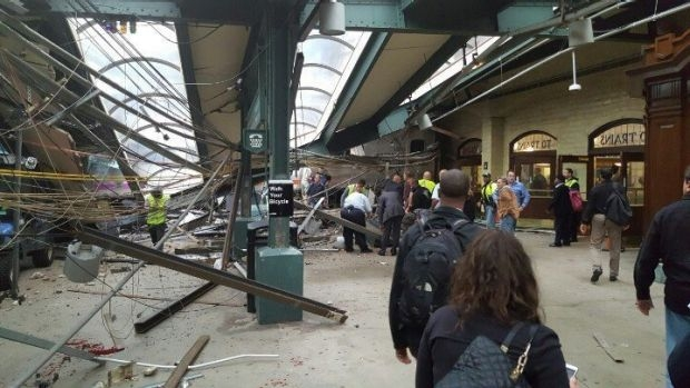 Article image for Commuter train crashes into New Jersey station, leaving at least one dead