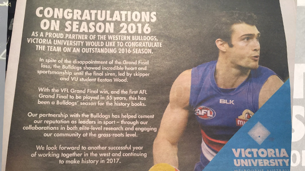 Article image for The Age says sorry for Victoria University advertising blunder involving the Western Bulldogs