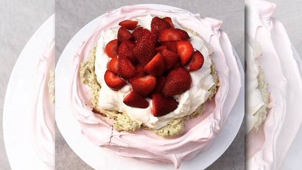 Article image for Emma Dean's Rosewater Pavlova with honey pistachio cream