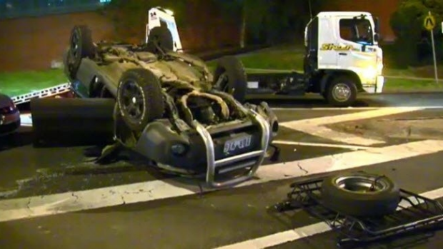 Article image for Lucky escape after three car smash at Wantirna sends car flying