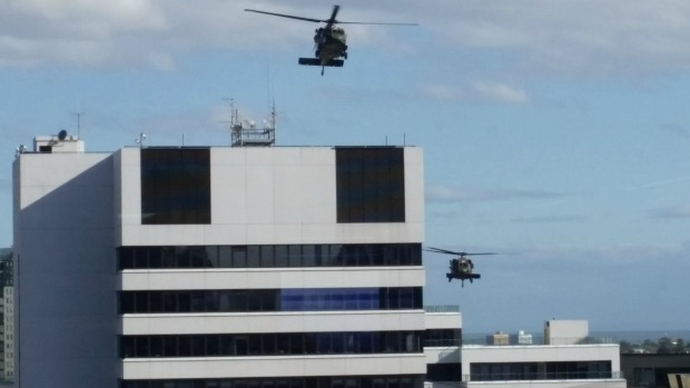 Article image for Black Hawk helicopters train in Melbourne CBD