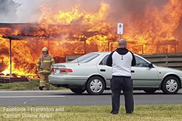 Article image for Large fire takes hold of Carrum Downs property