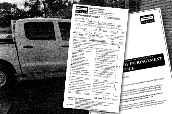 Article image for Hillside resident cops $93 fine after parking in her driveway