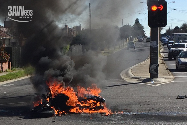 Article image for Man critical, motorbike destroyed after fiery crash in Melbourne's north
